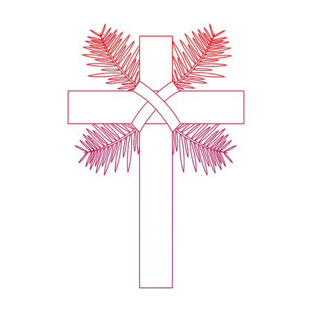 cross with leaves christian catholic paraphernalia  icon image vector illustration design  red to purple line