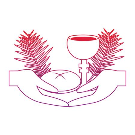 Hände mit Kelchbrot christlichen katholischen Utensilien Symbol Bild Vektor-Illustration Design rot bis lila Linie