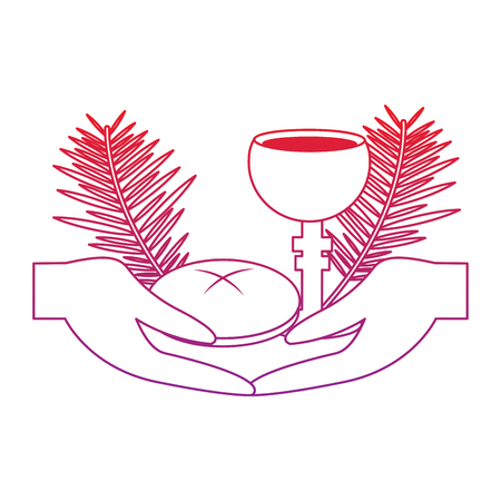 hands with chalice bread christian catholic paraphernalia  icon image vector illustration design  red to purple line