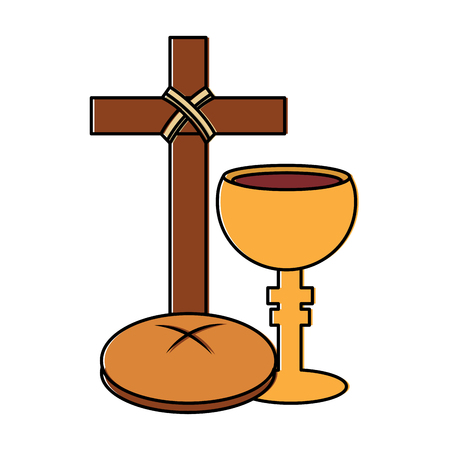 cross bread chalice christian catholic paraphernalia  icon image vector illustration design