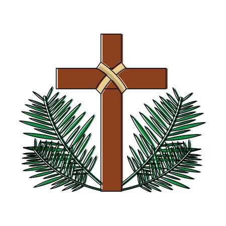 Kreuz mit christlichem katholischem Utensilienikonenbildvektor-Illustrationsdesign der Blätter