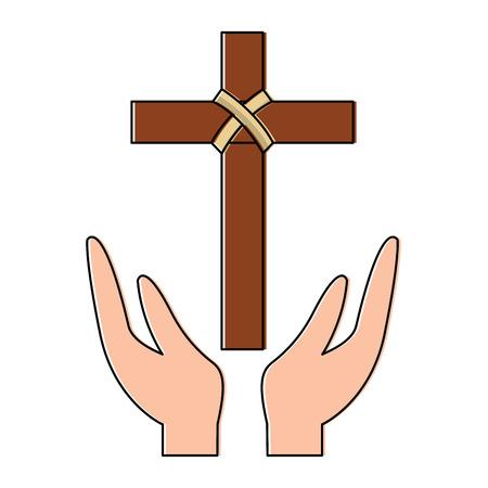 Croix et mains chrétien catholique attirail icône image vector illustration design