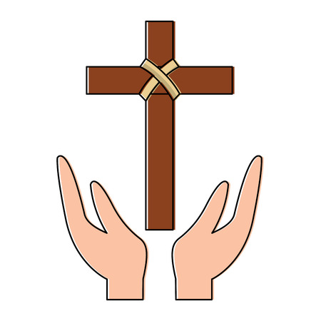 cross and hands christian catholic paraphernalia icon image vector illustration design