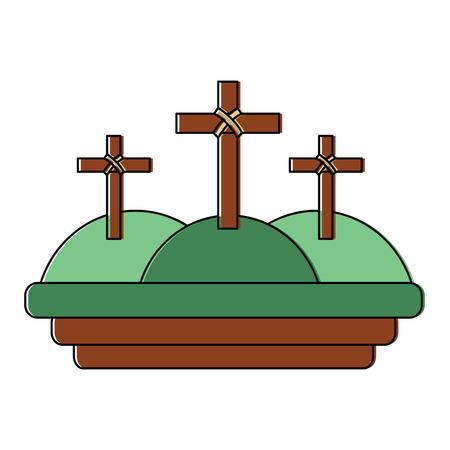 kruist drie heuvels christelijke katholieke parafernalia pictogram afbeelding vector illustratie ontwerp Stock Illustratie