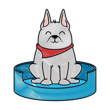 Perro lindo en el diseño de ilustración de vector de mascota de patinaje Foto de archivo - 96048211