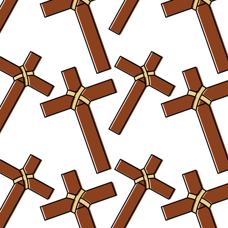 cross christian catholic paraphernalia  pattern image vector illustration design