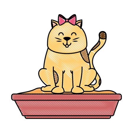 cute cat mascot with sand box vector illustration design Vectores