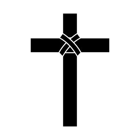 cross christian catholic paraphernalia  icon image vector illustration design  black and white