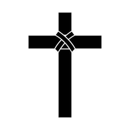 Cruz cristiana católico icónico concepto de ilustración vectorial blanco y negro Foto de archivo - 96048236