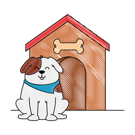Mascotte de chien mignon avec maison en bois design illustration vectorielle Banque d'images - 96048237