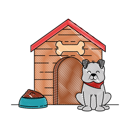 cute dog mascot with wooden house and dish food vector illustration design Stock Illustratie