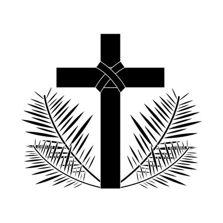 kruis met bladeren christelijke katholieke parafernalia pictogram afbeelding vector illustratie ontwerp zwart en wit