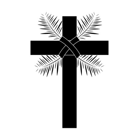 cross with leaves christian catholic paraphernalia  icon image vector illustration design  black and white