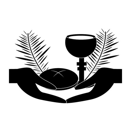 hands with chalice bread christian catholic paraphernalia  icon image vector illustration design  black and white