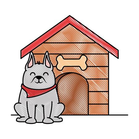 Mascotte de chien mignon avec maison en bois design illustration vectorielle Banque d'images - 96052988