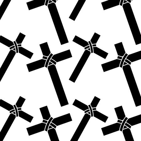seamless pattern sacred cross catholic symbol vector illustration
