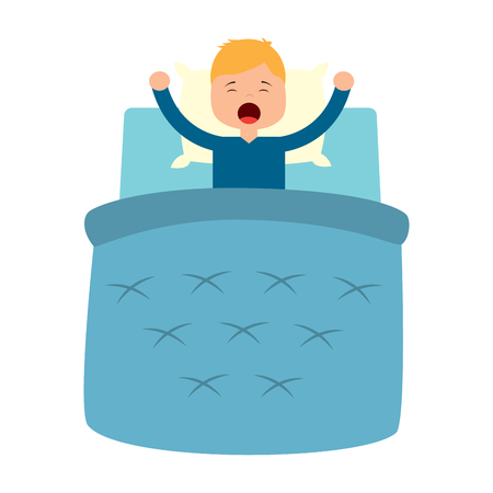 boy wake up with blanket and pillow vector illustration Illustration