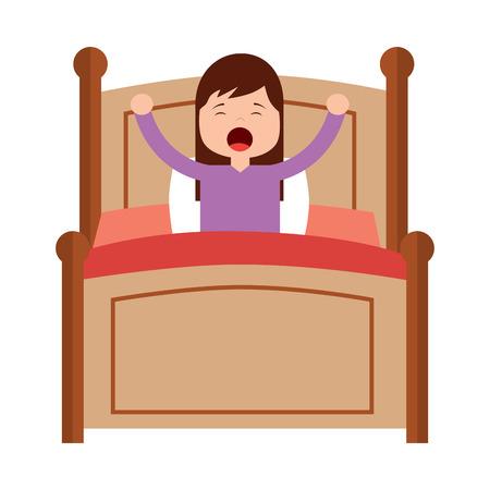 ベッドベクターイラストで若い女の子を朝起きる