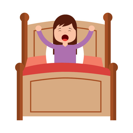 wake up morning the young girl in bed vector illustration