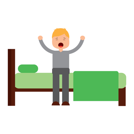 young man waking up sitting on bed with arms stretched vector illustration Stock Illustratie