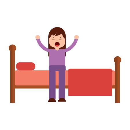 ベッドに座っている若い女の子は、サイドビューベクトルイラストを目覚めストレッチ