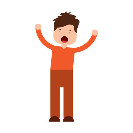 young cartoon boy yawning stretching arms vector illustration Stock Vector - 96053003