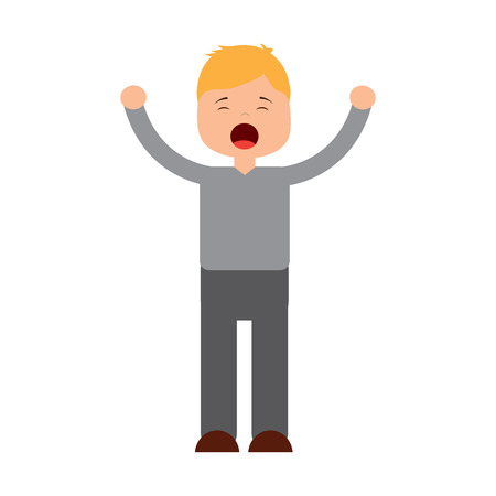 young cartoon boy yawning stretching arms vector illustration