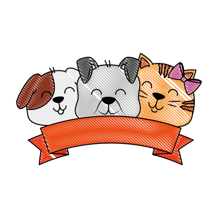 cute dog and cat with ribbon vector illustration design Stock Vector - 96053042
