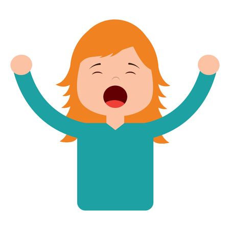 portrait young girl yawning and arms stretched vector illustration Ilustrace