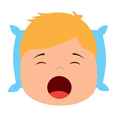 young boy with head in pillow yawning vector illustration Archivio Fotografico - 96053060