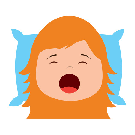 little girl yawning with head on pillow vector illustration Ilustrace