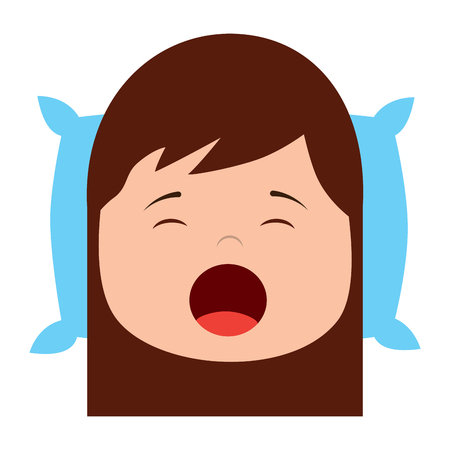 little girl yawning with head on pillow vector illustration Vettoriali
