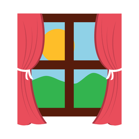 wooden window frame with curtain and sun mountain vector illustration