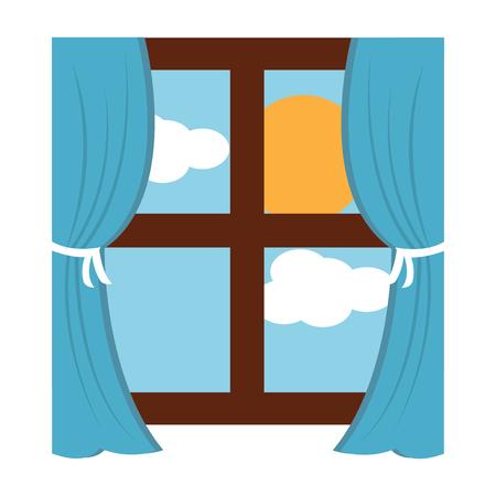 カーテンと太陽雲空ベクトルイラストと木製の窓枠