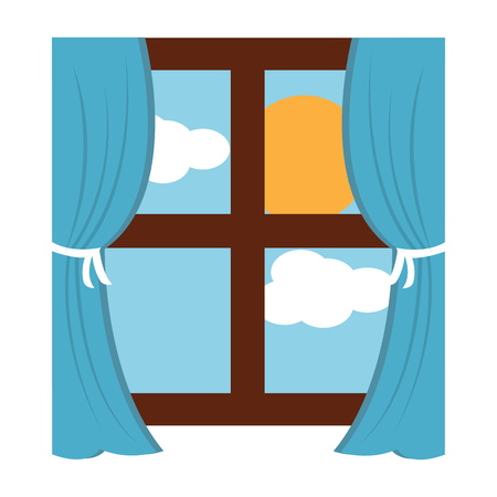 wooden window frame with curtains and sun clouds sky vector illustration
