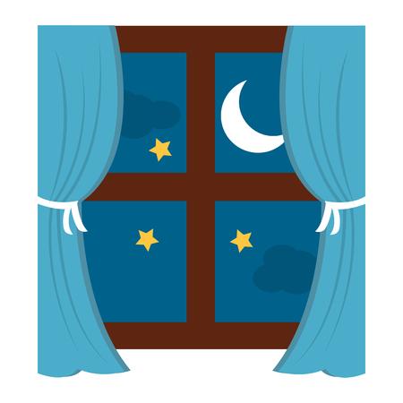 Cadre de fenêtre en bois avec rideau et nuit lune étoiles illustration vectorielle Banque d'images - 96054694