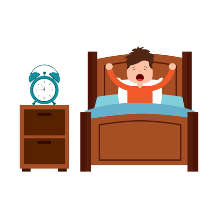 boy wake up stretching in wooden bed with bedside table clock vector illustration Banco de Imagens - 96053207