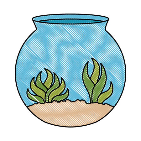 aquarium bowl with algae vector illustration design Reklamní fotografie - 96054339