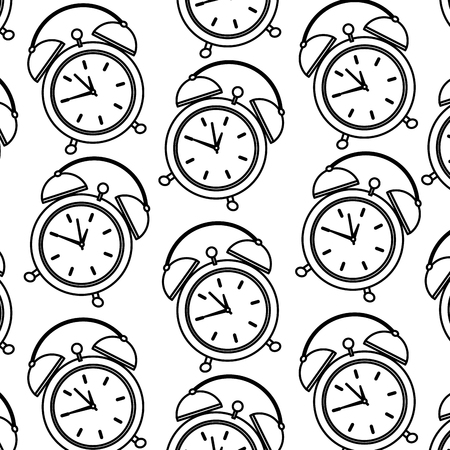 alarm clock pattern image vector illustration design  black line