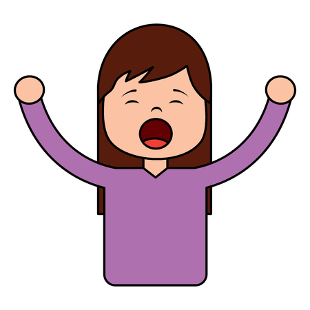 woman screaming icon image vector illustration design  向量圖像