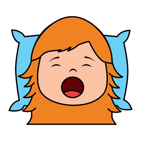 child girl sleeping on pillow icon image vector illustration design
