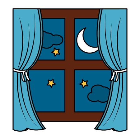 Fenêtre avec des rideaux de nuit icône image design illustration vectorielle Banque d'images - 96054599