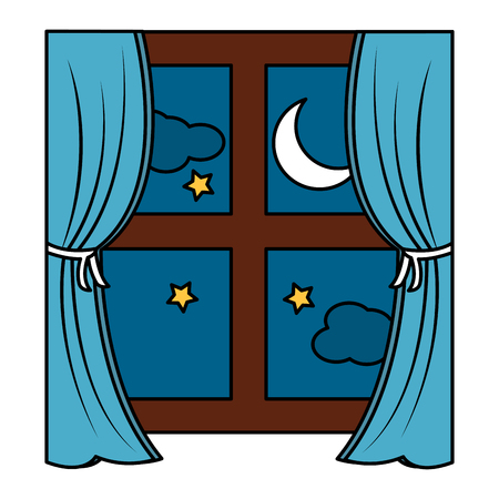 window with curtains nighttime  icon image vector illustration design