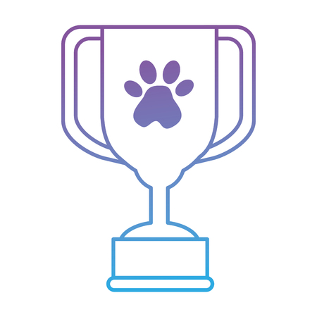 trophy cup with footprint vector illustration design