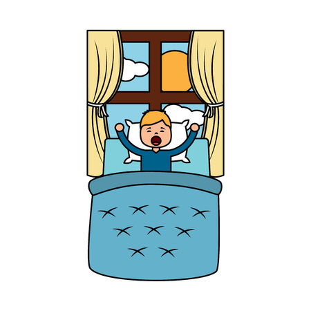 child boy sleeping in their room icon image vector illustration design  Illustration