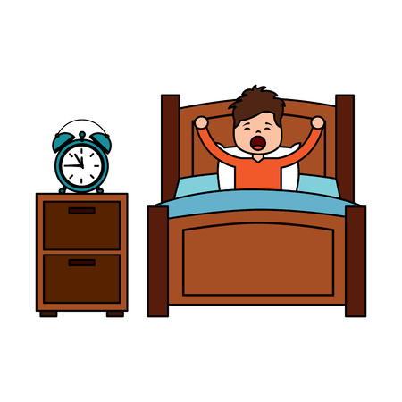 child boy sleeping in their room icon image vector illustration design  Çizim