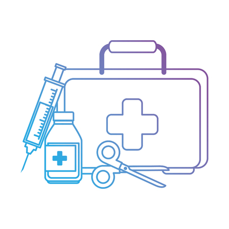 medical kit with scissors and bottle vector illustration design