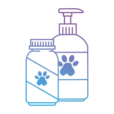 Maskottchen Shampoo und Vitamine Flaschen Symbol Vektor-Illustration Design Standard-Bild - 96051528