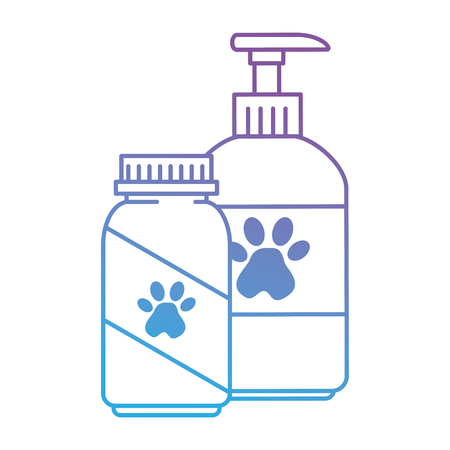 mascot shampoo and vitamins bottles icon vector illustration design