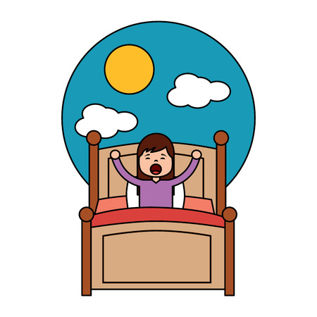 child girl sleeping in their room icon image vector illustration design Archivio Fotografico - 96056712